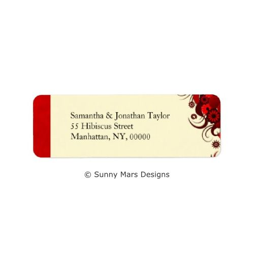 Red Hibiscus Floral Custom Return Address Labels pr Wedding Favor Labels by sunnymars of SunnyMarsDesigns.  These, modern, trendy, chic, stylish, elegant customizable wedding labels feature a classy dark red swirly floral decoration design. Click through to see matching wedding stationery and related products.