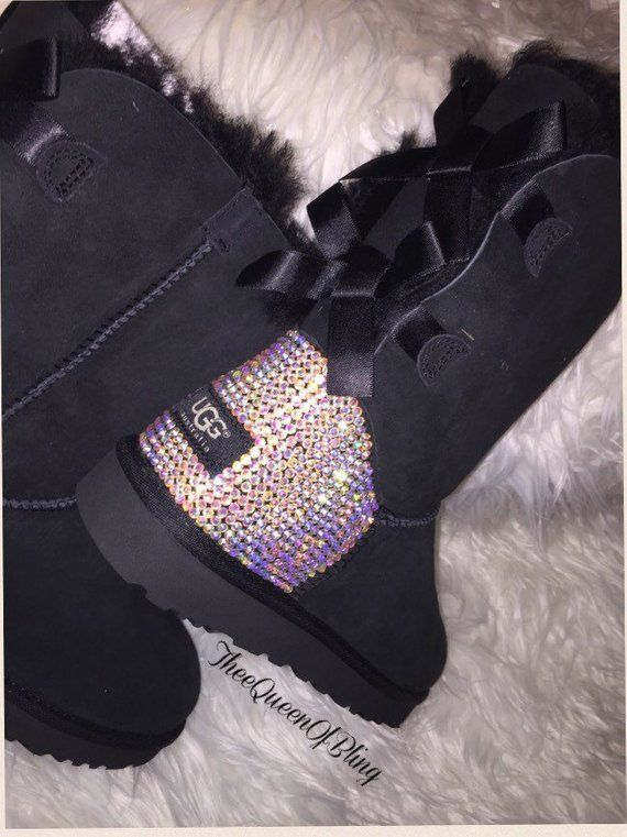 34d21499a69 Swarvoski crystal Bailey Bow Uggs ugg boot bling crystal | Etsy ...