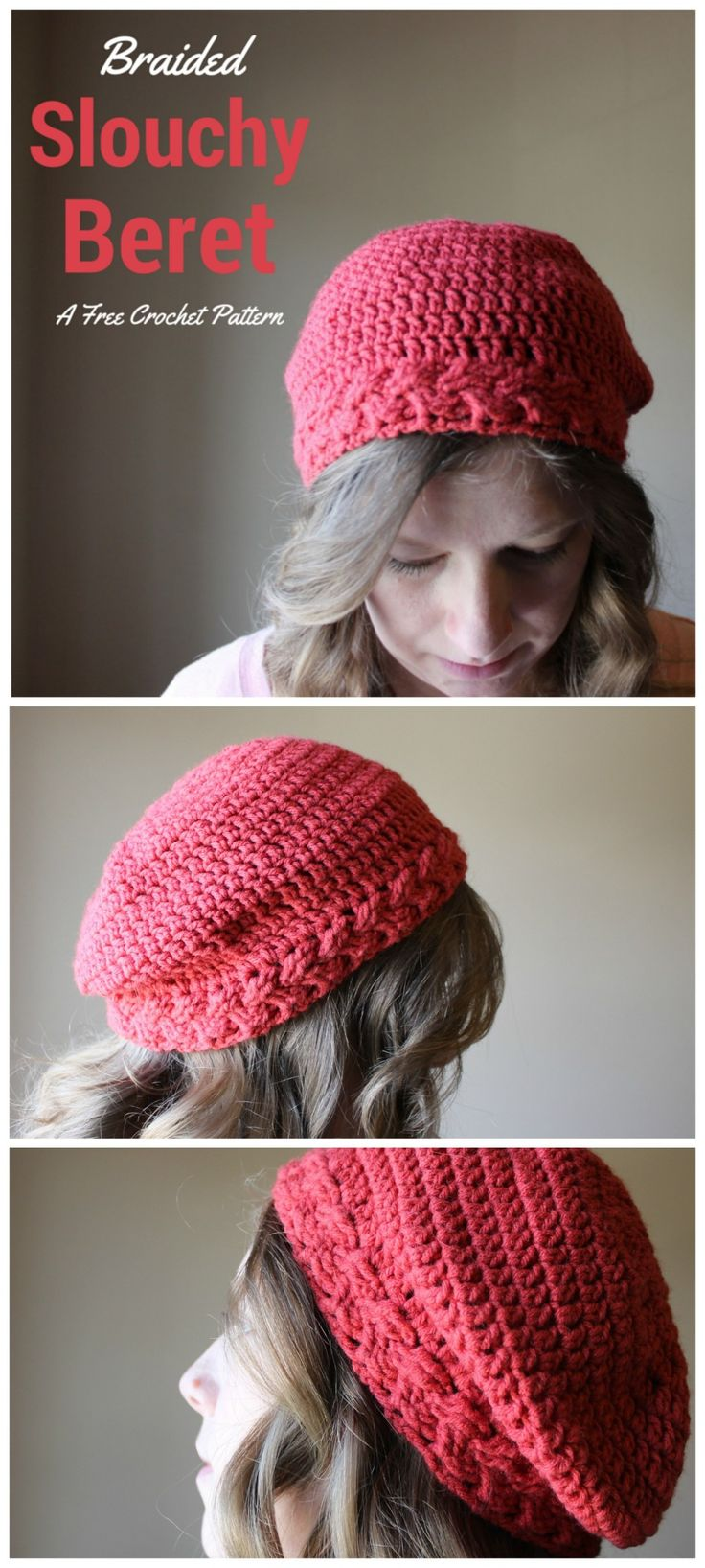 Braided Slouchy Hat - Free crochet pattern.