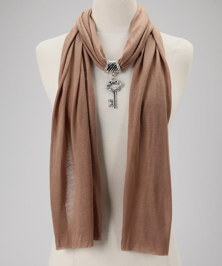 Light Brown Scarf & Pendant