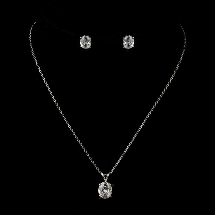 Petite Silver Plated CZ Pendant Bridesmaid and Junior Bridesmaid Jewelry Sets - Affordable Elegance Bridal -