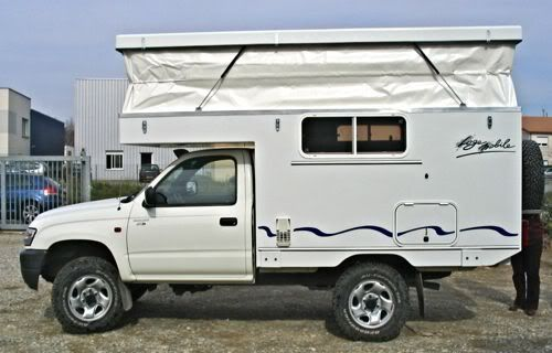 Polycomposit is a French company that makes a pop-up roof that mounts to the frame of small pickups