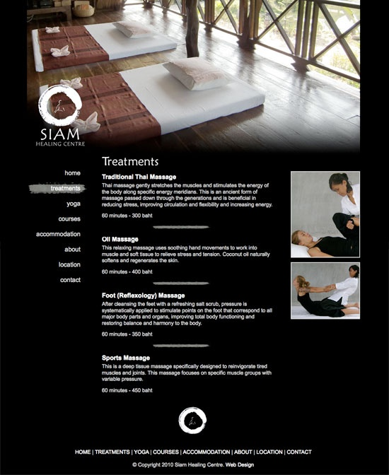Web design for Siam Healing Centre, located on Koh Phangan Thailand