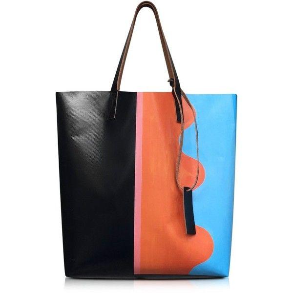 Marni Handbags Indian Orange Jack Davidson Print PVC Shopping Bag ($430) ❤ liked on Polyvore featuring bags, handbags, tote bags, pattern tote bag, orange purse, colorful tote bags, orange tote and colorful handbags