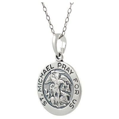 Women's Journee Collection St. Michael Pray For Us Pendant Necklace in Sterling Silver - Silver (18)