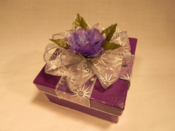 Gift Wrap Bow   Purple Gift Wrap Box with Silver Bow and by LittleDreamscapes