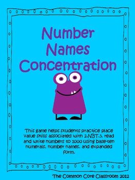 Number Names Concentration Game * 2nd Grade Math * 2.NBT.3 * Place ...