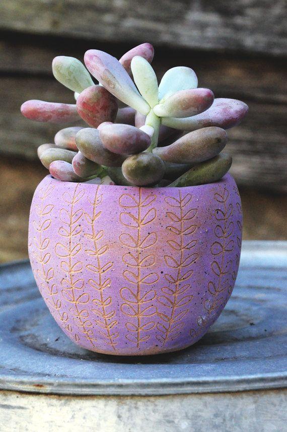 Magenta  Orange Speckled Orb Table Planter by HalfLightHoneyStudio, $36.00