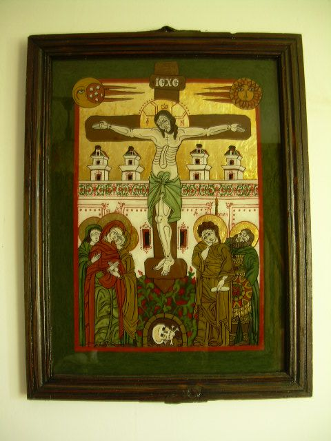 Romanian traditional icon on glass