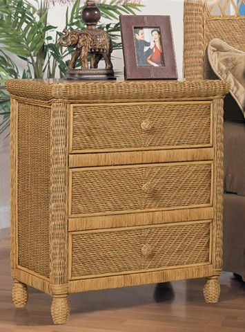 Discount Santa Cruz 3 Drawer Wicker Chest in Antique Honey - Stix 'N' Things