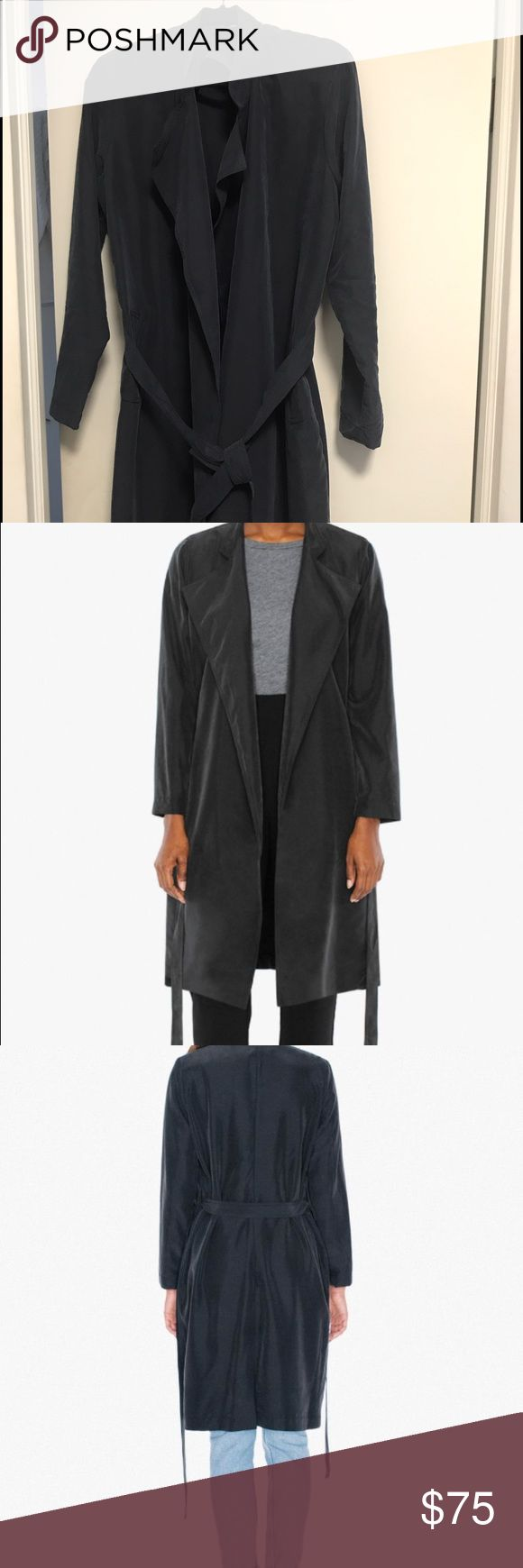 A navy blue American Apparel trench coat It's light-weight, cute and can be worn anytime :) American Apparel Jackets & Coats Trench Coats