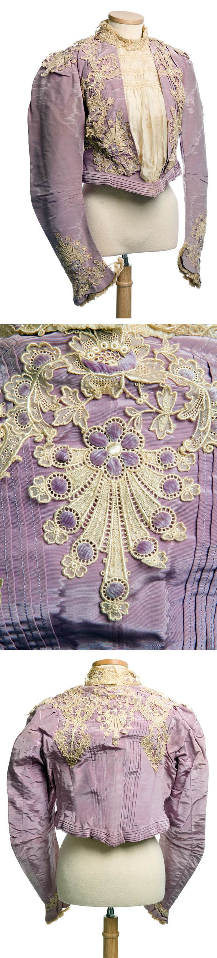 Bodice in lavender silk moiré, M. O'Brien, New York, ca. 1870s. Trimmed with embroidered eyelet lavender chenille. Front opening covered with ruched cream chiffon. Lined with lavender taffeta, it has 15 encased stays along with a white ribbon inner waistband. Probably had a matching skirt. Charleston Museum Tumblr