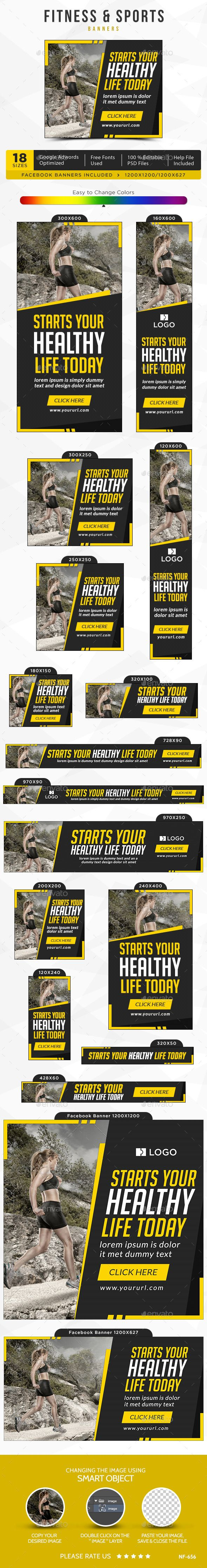 Fitness & Sports Banners Template #design #ads Download: http://graphicriver.net/item/fitness-sports-banners/12953380?ref=ksioks