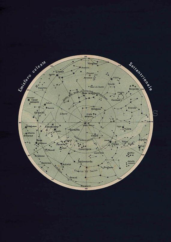 Antique Celestial Sphere Print Astronomy Chart Northern Hemisphere Stars Constellations. $16.00, via Etsy.