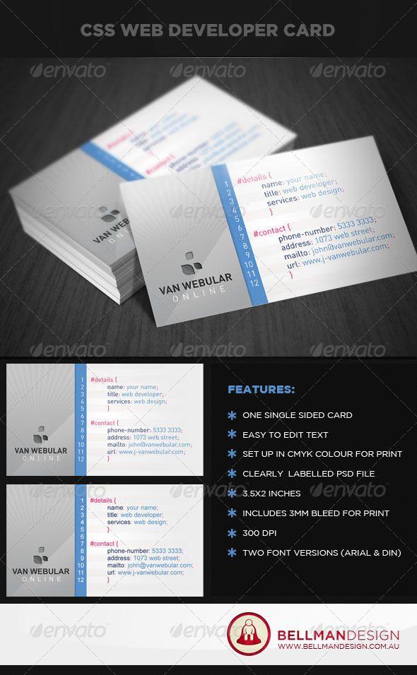 Web Designer & Developer Business Card Design | Business cards ...