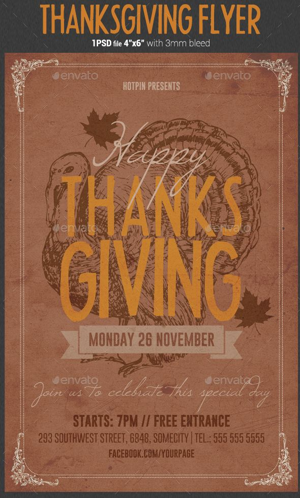 Thanksgiving #Flyer #Template - Holidays Events Flyer Templates