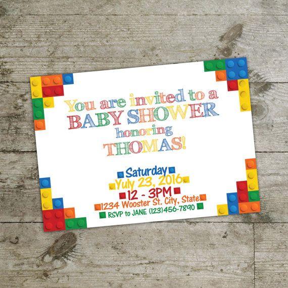 Baby shower invitation Lego invitation lego printable by DiPics
