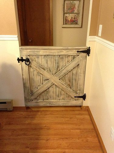 Homemade Baby/Dog gate.  Love the hinges.