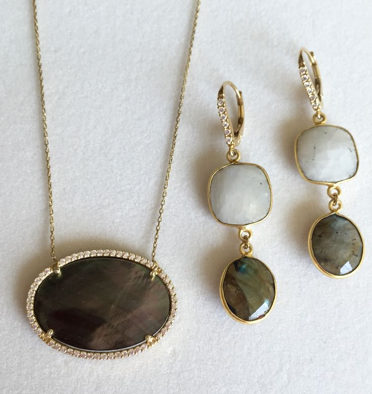 Mother of Pearl pendant.  Earrings with Mother of Pearl and Labradorite earrings with crystals