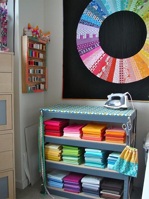 Tallgrass Prairie Studio: Quilting Modern! Ironing board on shelf.