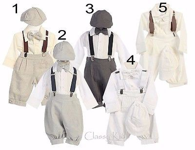 New Baby Toddler Boys Grey Tan Ivory White Knickers Vintage Suit Outfit Set USA
