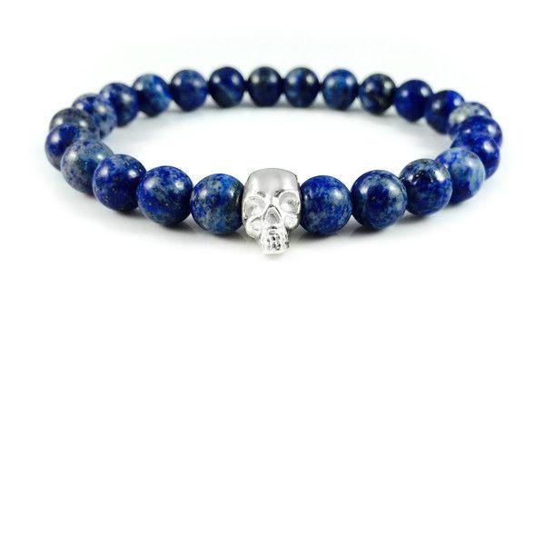 Męska bransoletka lapis lazuli ze srebrną czaszką w Dizarro na DaWanda.com