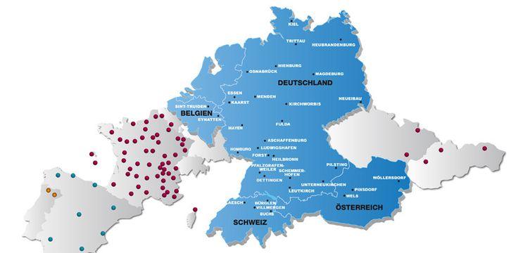 Standorte der Partnerbetriebe des Relais - Die Textilkonstrukteure
