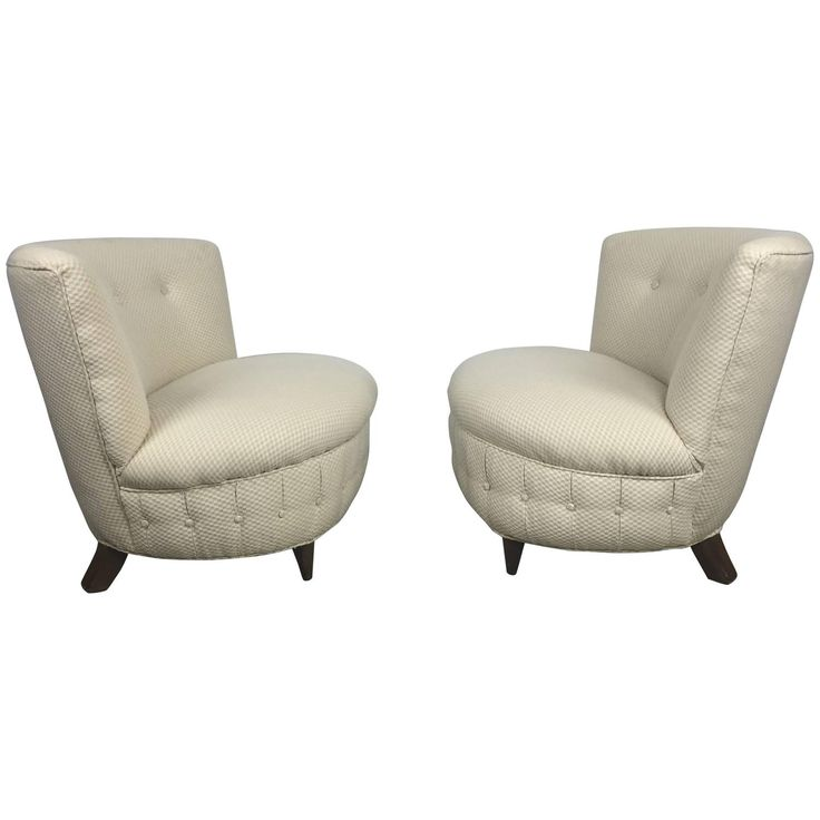 Pair of Button Tufted Slipper Chairs by Gilbert Rohde