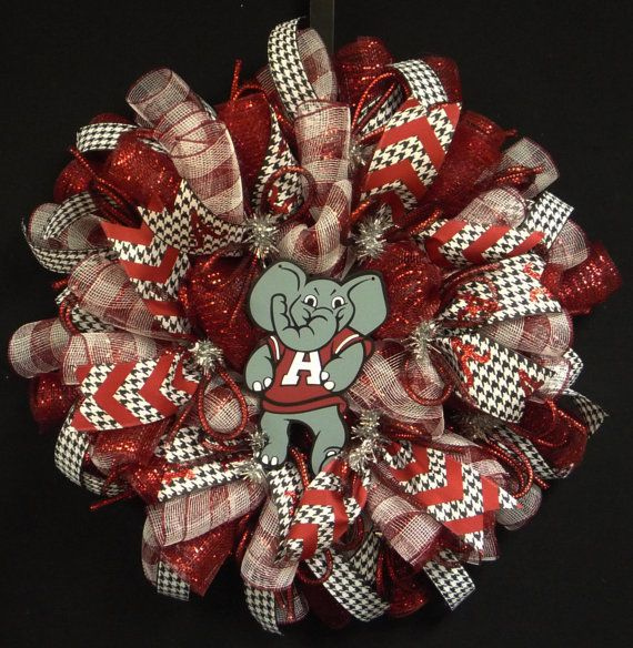 Alabama College Wreath, Crimson Tide, Roll Tide, Houndstooth, Sports Wreaths, Deco Mesh Wreath, Poly Mesh Wreaths (1087)