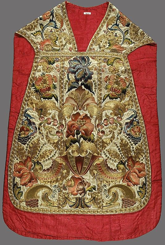 According to tradition and testimony, this chasuble—together with its matching stole, maniple, chalice cover, chalice veil, and burse—was made in Sicily, as a gift from his bishop for Nicolo Spedaliere (also recorded as Spitaleri), head priest of the mother church of Partanna. It is entirely feasible that the vestments were made by a women's religious order or at a school that practiced this type of embroidery.