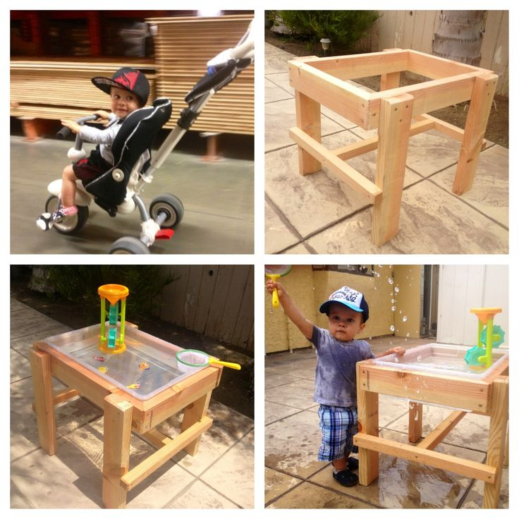 DIY Water Table under $20 using wood and a Rubbermaid tub!