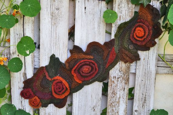 Crochet Scarf Capelet Neck Warmer Unique scarf Roses by Degra2