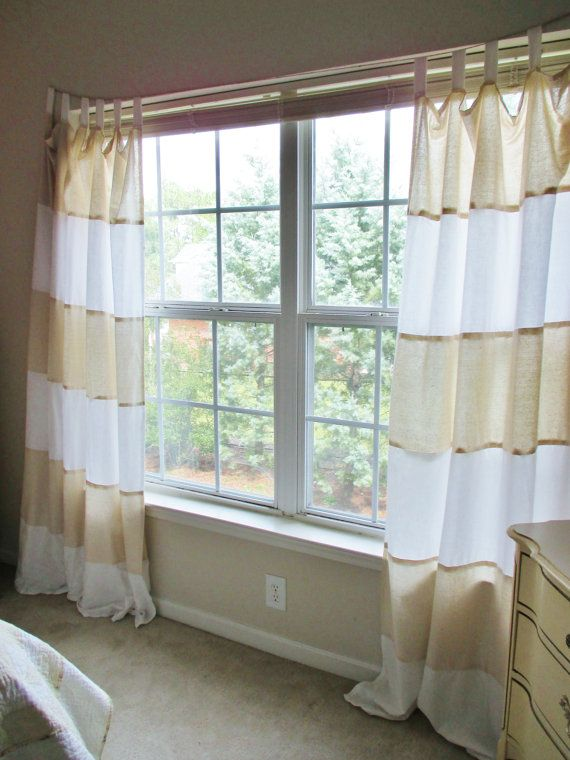 Horizontal Wide Striped Muslin Curtains