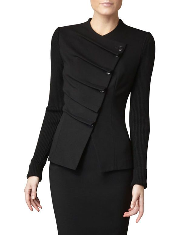 Women's Folded Asymmetric Jacket - Black