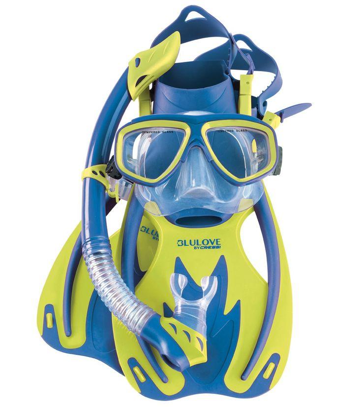 Cressi Kids' Rocks Fin, Brisa Mask, and Rio Snorkel Set at SwimOutlet.com – The Web's most popular swim shop