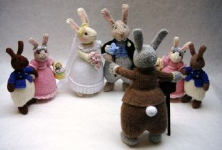 Bridal Bunnies. A sixteen page knitting pattern by Alan Dart. Price:£ 2.50.   Love is a bunny-splendoured thing.   Measurements The bridegroom, photographer and sweep are 30cm/12in tall, the bride is 28cm/11in tall, and the bridesmaids and pageboys are 20cm/8in tall.