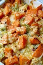 Simpele ovenschotel met kip en zoete aardappel