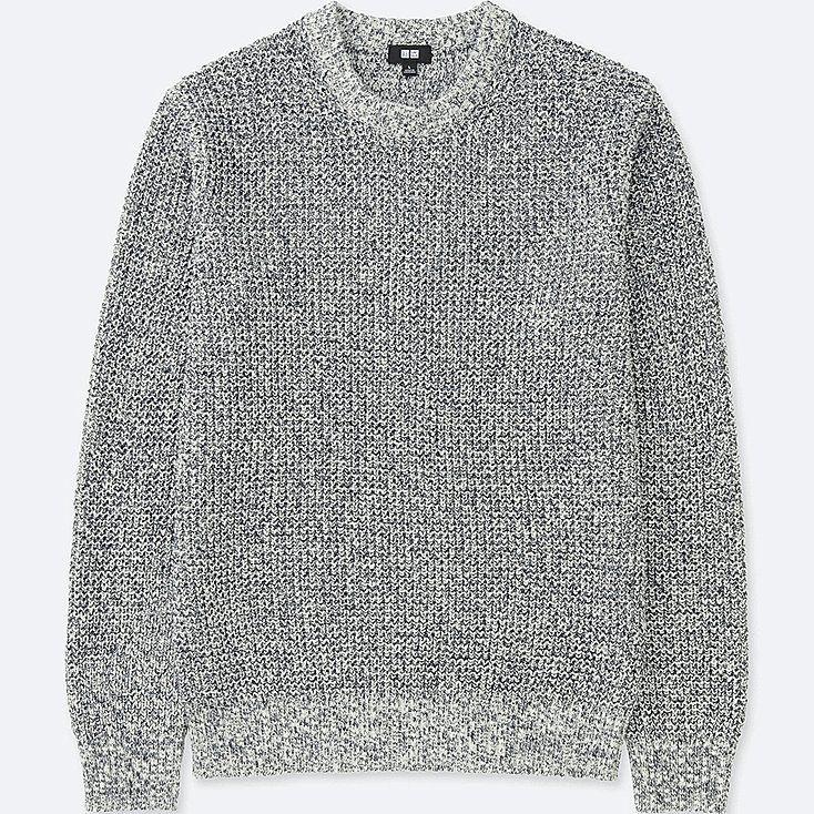 MEN WAFFLE CREWNECK LONG SLEEVE SWEATER | Sweaters, Mens