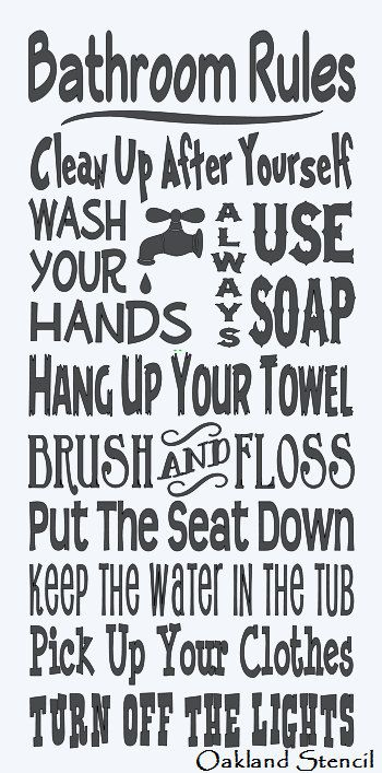 Primitive stencil bathroom rules large 12 x24 for for Quote stencils for crafts