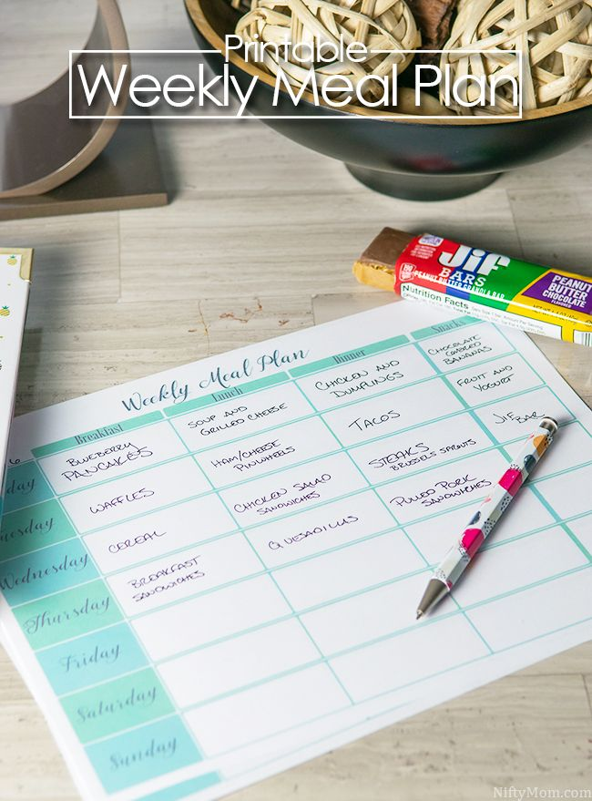 Free Printable Weekly Meal Plan Sheet & Tips for Successful Meal Planning #TeamJif (ad)