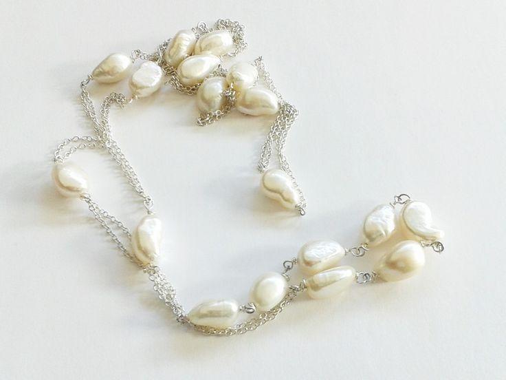Collane - collana perle barocche e catenina argentata - un prodotto unico di…