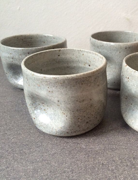 Soft speckled grey handleless mug - ceramic tumbler - cocktail - coffee mug - handmade pottery