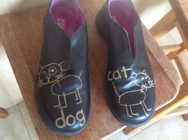 Womens shoes Camper Twins cat and dog black leather vgc size 38