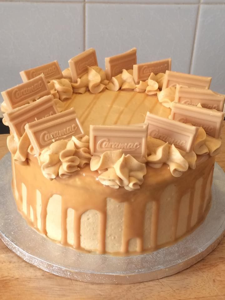 Caramac Cake. Toffee sponge, caramel buttercream. Caramac drizzle and caramac pieces. Handmade by Smiffies Delicious Delights.