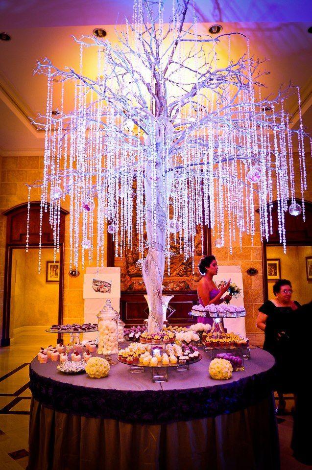Arbol de cristales para mesa de postres/crystal tree for ...
