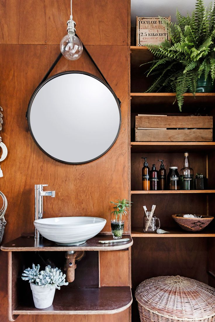 Timber vanity from rustic bohemian cottage in Newcastle, NSW. Photography: Maree Homer | Styling: Kerrie-Ann Jones | Story: real living
