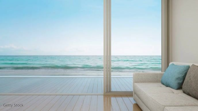 Resort Beach Zoom Virtual Background Video Background Luxury Apartments Office Background Modern living room zoom background
