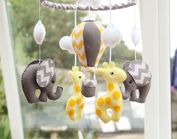 BABY Mobile - Elephant Giraffe Mobile - Hot Air Balloon -  Grey Yellow -  Nursery Mobile- MADE To Order
