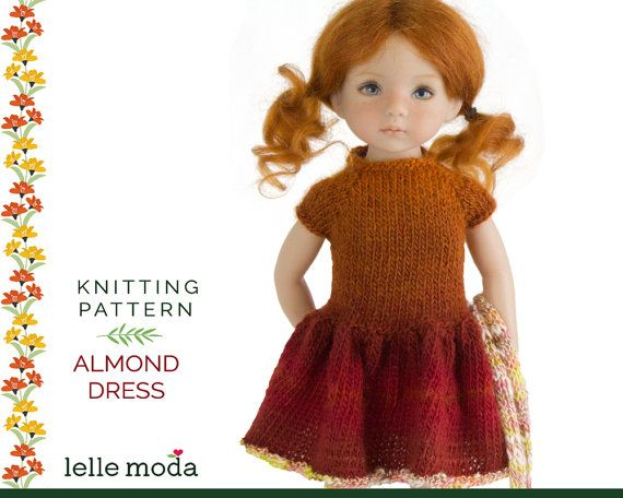 Knitting Patterns Little Dolls : Almond Dress Knitting Pattern Little Darling Dolls by ...