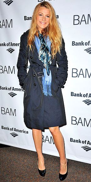 Blake Lively in a navy Burberry trench with brilliant scarves and patent platforms